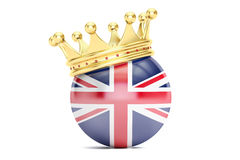 Crown with flag of United Kingdom of Great Britain, 3D rendering Stock Photos