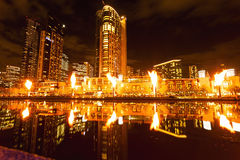 Crown Flames. Stunning Image of the Flames at the Crown Casino at Melbourne in Victoria Australia Royalty Free Stock Photography