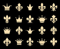 Crown and fleur de lis icons Royalty Free Stock Photo