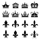 Crown and fleur de lis, lily flowers icons Royalty Free Stock Photos