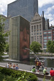 Crown Fountain Chicago. Crown Fountain turned on in summer but closing on Labor Day. Last few days to enjoy summer in Millennium Park royalty free stock photo