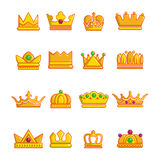 Crown gold icons set, cartoon style Stock Photo