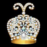Crown of gold  and precious stones. On black Stock Photos