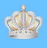 Crown of gold silver and precious stones Stock Image