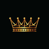 Crown. Gold symbol icon on black background Stock Photography