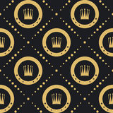 Crown golden pattern seamless Royalty Free Stock Image