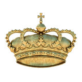 Crown. A golden royal crown symbol. Isolated on white background. Transparent PNG available Stock Photos