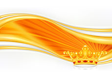 Crown, greeting card. Golden crown on sunny background Stock Images