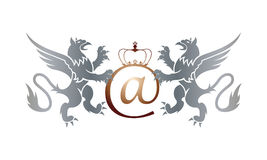 Crown and Griffins Email Sign. Email symbol with royal crown and two griffins Royalty Free Stock Photography
