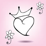 Crown with heart Royalty Free Stock Image