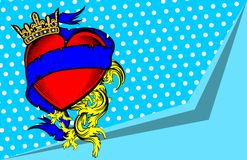 Crown heart ribbon tattoo background2 Royalty Free Stock Images