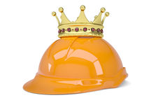 Crown on helmet. Render on a white background Royalty Free Stock Images