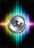 Crown Icon Button on Abstract Spectrum Background Stock Photos