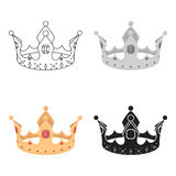 Crown icon in cartoon style isolated on white background. Hats symbol stock vector illustration. Stock Photos
