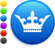 Crown icon on round internet button.  Royalty Free Stock Photography