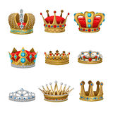 Crown Icon Set. With isolated elements and accessories for princes kings and princesses vector illustration Stock Photo