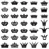 Crown icon set. King and Queen symbol collection Royalty Free Stock Photography