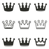Crown icon set. Crown vector icons set. Black illustration isolated on white background for graphic and web design Stock Illustration