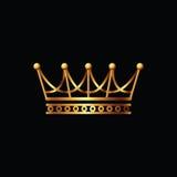 crown Icona di simbolo dell'oro su fondo nero Fotografia Stock
