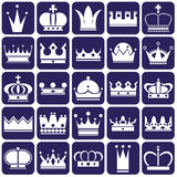 Crown icons on blue Stock Images