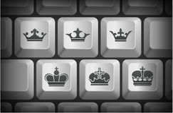 Crown Icons on Computer Keyboard Buttons. 