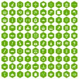 100 crown icons hexagon green. 100 crown icons set in green hexagon isolated vector illustration Stock Photos