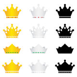 Crown icons set Stock Photos