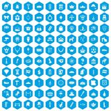100 crown icons set blue. 100 crown icons set in blue hexagon isolated vector illustration Royalty Free Illustration