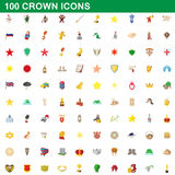 100 crown icons set, cartoon style. 100 crown icons set in cartoon style for any design vector illustration Stock Images