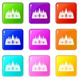 Crown icons 9 set. Crown icons of 9 color set isolated vector illustration Stock Photography
