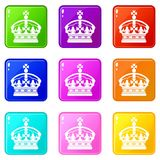 Crown icons 9 set. Crown icons of 9 color set isolated vector illustration Stock Image