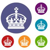 Crown icons set. In flat circle reb, blue and green color for web Royalty Free Stock Image