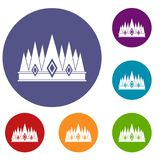 Crown icons set. In flat circle red, blue and green color for web Stock Image