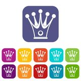 Crown icons set flat. Crown icons set vector illustration in flat style In colors red, blue, green and other Royalty Free Stock Photos