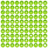 100 crown icons set green circle. Isolated on white background vector illustration Stock Illustration