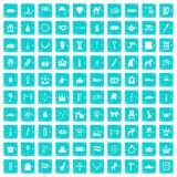 100 crown icons set grunge blue Stock Image