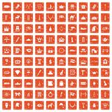 100 crown icons set grunge orange. 100 crown icons set in grunge style orange color isolated on white background vector illustration Royalty Free Stock Photo