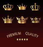 Crown Icons Set - Isolated On Black Background Stock Images