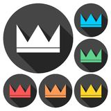 Crown icons set with long shadow. Vector icon Royalty Free Stock Photos