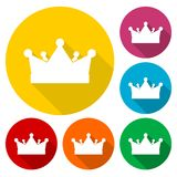 Crown icons set with long shadow Stock Images
