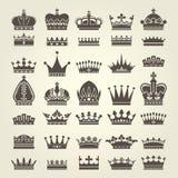 Crown icons set - monarchy and royal symbols Stock Photos