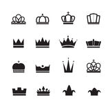 Crown icons set Royalty Free Stock Images