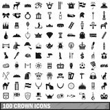 100 crown icons set, simple style. 100 crown icons set in simple style for any design vector illustration Royalty Free Stock Photos