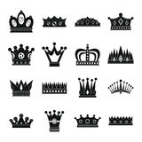 Crown icons set, simple style. Crown icons set. Simple illustration of 16 crown vector icons for web Stock Images