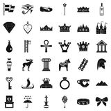 Crown icons set, simple style. Crown icons set. Simple style of 36 crown vector icons for web isolated on white background Royalty Free Stock Photos