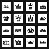 Crown icons set squares vector. Crown icons set in white squares on black background simple style vector illustration Stock Images