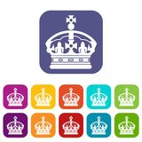 Crown icons set. Vector illustration in flat style in colors red, blue, green, and other Stock Photos