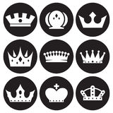 Crown icons set. White on a black background Stock Photography
