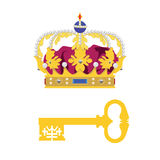 Crown and key Royalty Free Stock Image