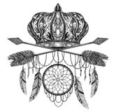 Crown king and queen and arrow cross elegant drawing art. Black color in white background